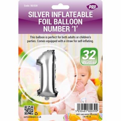 "Number 1 - 32"" Silver Foil Balloon"
